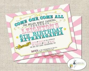 Carnival Birthday Invitation, Pink Carnival/Circus Invitation, Printable Circus Invitation