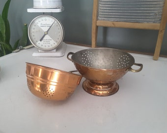 Vintage Copper and Brass Colander Strainers Set of 2 Farmhouse Country Kitchen Cottage