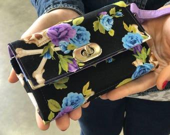 Mini Skull and Roses Wallet, Skull Wallet, Skull Emmaline Necessary Wallet, Skull Roses Mini NCW Wallet, Iphone Wallet - rockabilly wallet
