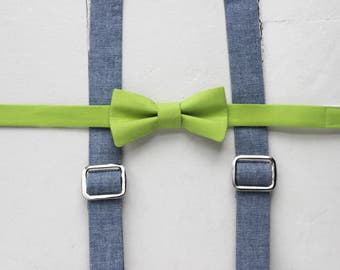 Little Boys Suspenders Green Bow Tie and suspenders Set Blue Toddler Suspenders Chambray Baby Suspenders Blue Suspenders Easter Suspenders