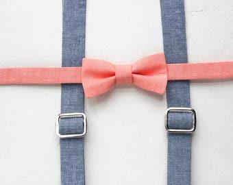 Little Boys Suspenders Peach Bow Tie Set Blue Chambray Toddler Suspenders Blue Baby Suspenders Blue Suspenders Easter Suspenders Set
