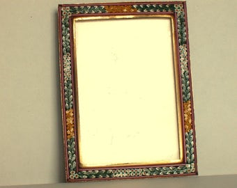 Vintage Mini Mosaic Micro Mosaic Picture frame w/ Easel