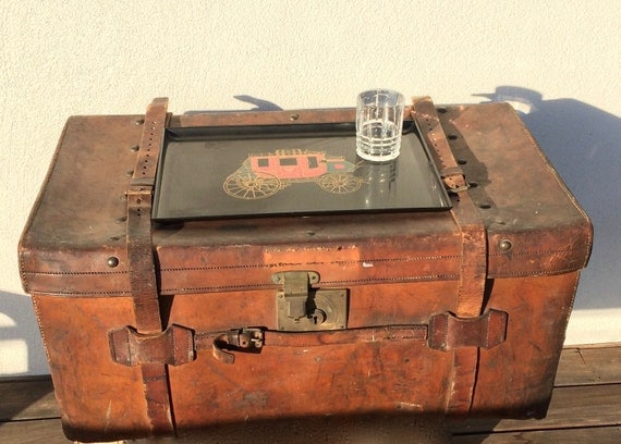 Sale Leather Steamer Trunk Coffee Table Trunk Rare Antique