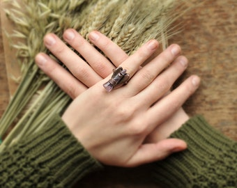 Beautiful little Angel made of Amethyst, amethyst ring, 5.5 size US, unique, boho, copper Electroformed, Statement Ring, cocktail ring, oak