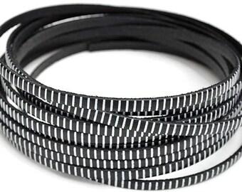 "5MM Flat Black Leather w/whiteStripe - 1M/39.4""  - Black/White - Best Quality European Leather Cord"