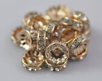 50pcs 10mm Rose Gold Plated Crystal Rhinestone Spacer Wheel Rondelles Beads charms - for earring/necklace/bracelet stone connectors spacers