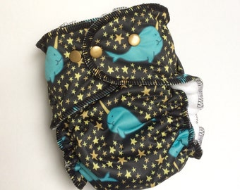 Narwhals Large All in Two Cloth DIaper