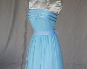 FABULOUS 50% Off SALE 1970's Elegant Baby Blue Chiffon Dress