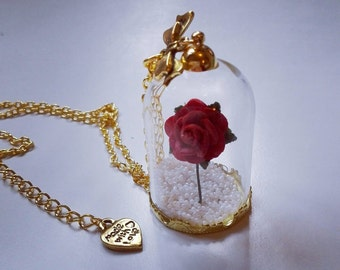 Beauty And The Beast Inspired Rose Dome Glass Snowglobe Necklace FREE Gift Box