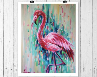 Flamingo prints wall art- flamingo print- pink-abstract art- giclee print- pink flamingo art- tropical decor- tropical gifts- tropical print