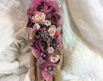Corsage-Wedding Corsage-Fingertip to Wrist Corsage-Jewelry-Brooch Corsage-Bracelet-Bride's Corsage Bridal-Pink&Fuchsia Corsage-Prom Flowers