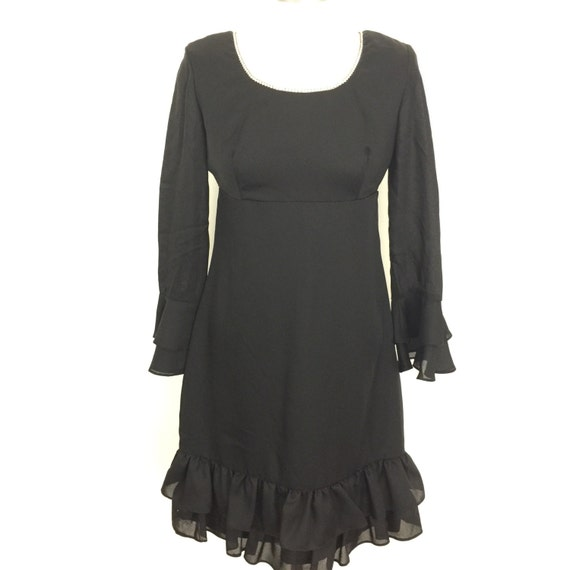 Vintage mini dress 1960s Mod sheer chiffon flared sleeves GoGo black diamante claw set  UK 12 minidress 60s party frill