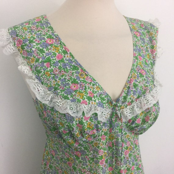 Vintage nightgown 1970s chintzy midi dress folk style chintz flower power nightie UK 10 70s historical budoir pin up bed wear St Michael