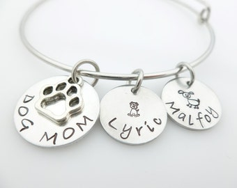 Dog Mom Bangle, Charm Bracelet, Handstamped Jewelry, Pet Grandma, Rescue Mom, Pet Lover, I love my dog, Silver bangle, Jewelry for her