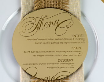 10x Engraved Round Acrylic Wedding Menus