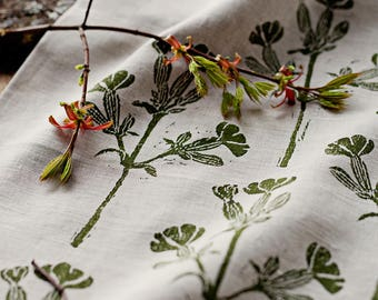 Linen block printed table runner floral green