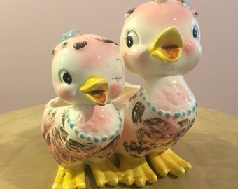 Mama and Baby Pink Duck Ceramic Planter