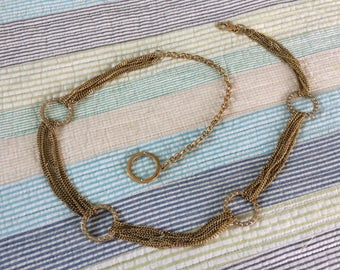 Vintage Gold Tone Circle and Rhinestone Chain Belt
