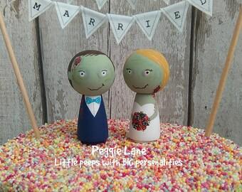 Zombie Wedding, Zombie Couple, Alternative Cake Topper, Zombie Bride, Zombie Groom, Themed Wedding Topper, Zombie Cake Toppers, Peggie Lane