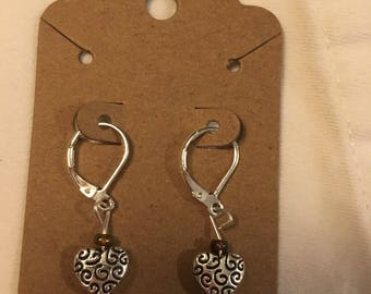 Silver heart and iridescent bead earrings on sterling silver ear wires