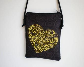 Shoulder bag, crossbody bag, printed bag, little bag, heart, heart bag