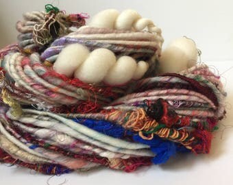 Corespun Bulky Art Yarn - Weave Weird -Single Ply Sari Silk Beehive Coils OOAK - 3.1oz - 78 yards - Gypsy Wagon