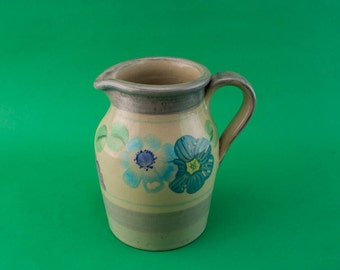 Pottery Vintage Floral Milk JUG Grey Serving Mid-Century Modern Elegant Medium Gift Wine English Mid 20th Century LS