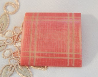 Square Cut Celluloid Button with a Pink Dye