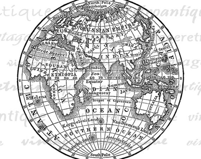 photograph about Printable Globe known as Printable World Electronic Graphic Antique Entire world Planet Map Graphic Clipart Typical Japanese Hemisphere Image Artwork Jpg Png Eps HQ 300dpi No.3572