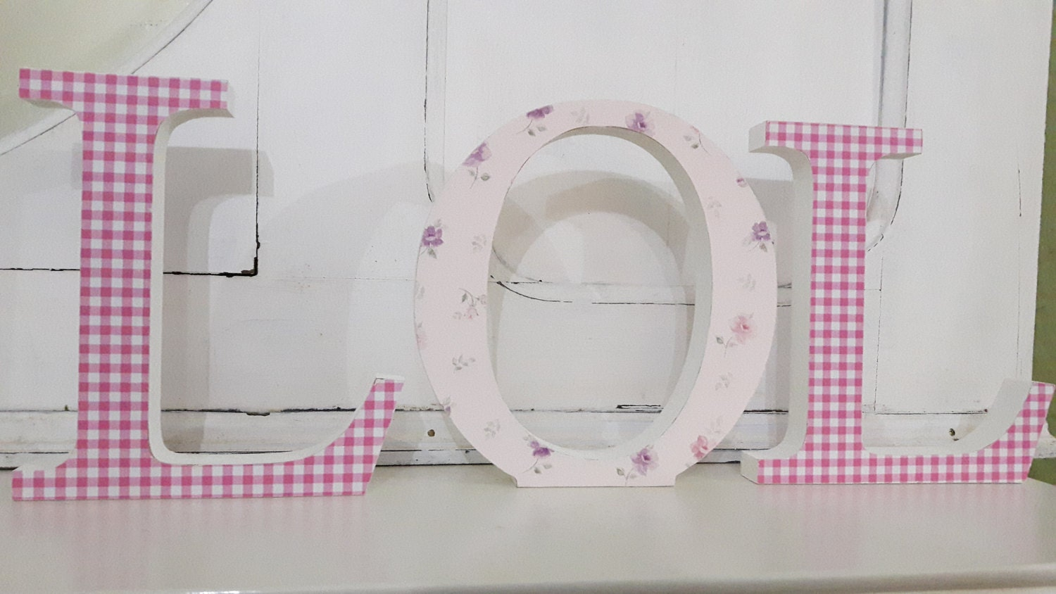 Gorgeous pink floral and gingham covered LOL free standing wooden decoupaged letters. 15 cm high