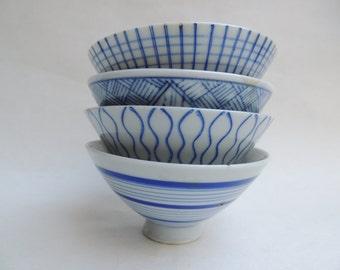 Vintage Blue & White Porcelain Rice Bowls Set of 4