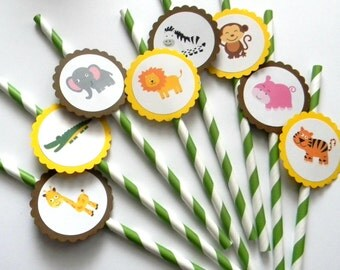 12 Jungle Party Straws, Jungle Theme, Safair Theme, First Birthday, Jungle Birthday, Party Decor, Safari Birthday, Baby Shower, Giraffes