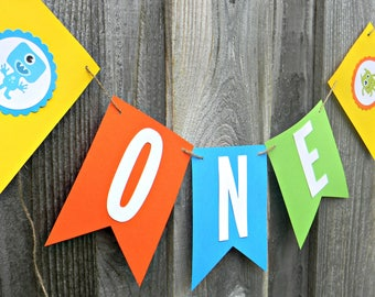ONE Highchair Banner, First Birthday, Monster Theme, Birthday Banner, Pennant Banner, Birthday Decor, Baby Shower, I am One, Party