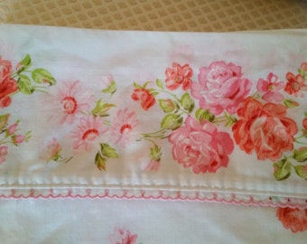 Extra Long Twin Size Floral Pink Roses on White Percale Sheet