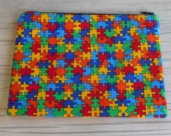 Colorful Puzzle and Blue Medium Zippered Pouch • Ready to Ship