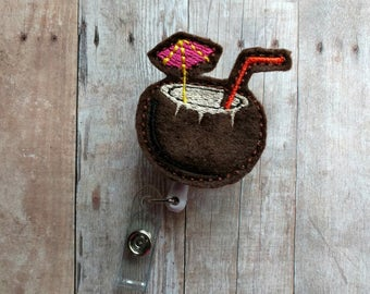 Coconut Tiki Drink Retractable Badge Clip ID Holder, Brown Embroidered Wool Felt, Cocktail Badge Reel, Choice of Clip Styles, Pina Colada