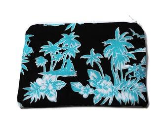 Reusable Snack Bag Zipper Michael Miller Brown Turquoise Tropical