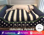 Designer Dog Bed | Navy Blue and Green, Chartreuse, Mini Dot, Polka Dot, Stripe  | Choose Size & Fabrics - Removable Washable Cover