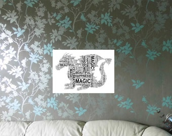 Personalised Dragon Word Cloud Art Print, FREE UK P&P. Digital Word Art Collage, Word Picture, Custom Gift,