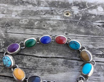 Sterling Silver 925 Gemstone Bracelet 30 grams
