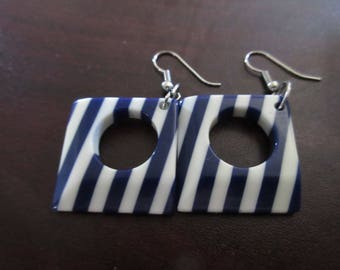 Blue and White Lucite Earrings
