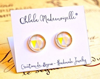 Peach and grey geometric handmade glass cabochon earrings studs - minimalist earrings, geometric studs, geometric earrings