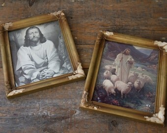 Vintage Pictue Frames - Jesus Praying, Jesus with Lambs