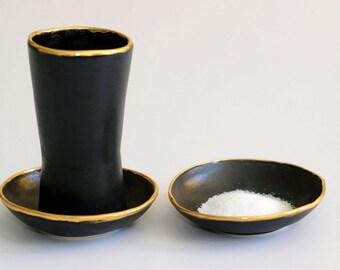 Kiddush Cup & Dish, Shabbat Shalom, Judaica Wedding Gift, Jewish Tradition, Black Gold Trim Bread Salt Wine Glass Sabbath Blessing, Israel