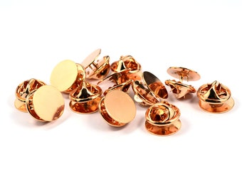 10 Pcs. Rose Gold 12  mm Tie Tack Blanks Findings