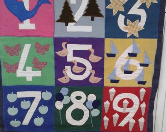 Numbers Vintage Fabric Wallhanging