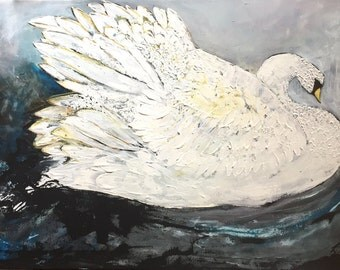 Swans - Large Canvas Painting - Original Art - Home Decor - Large Wall Art - White Birds - Large Birds - UK Art - Fine Art - Palette Knife