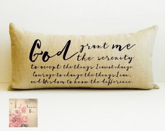 God grant me the serenity to accept the things I cannot change, AA sobriety affirmation custom pillow, personalized pillow, Sobriety pillow