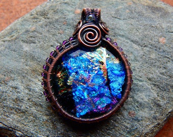 Wire Wrapped Dichoric Glass Pendant