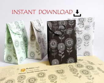 printable DOWNLOAD Flower doodle gift party favor foldover box paper template DIY